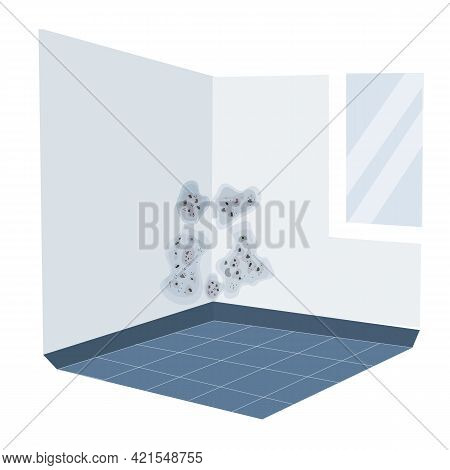 Mold On The Wall In The House From High Humidity Vector Illustration.