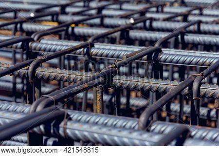 Close Up View Of Reinforcement Of Concrete Construction Rebar Steel Work Reinforcement At A Construc