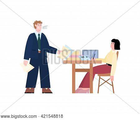 Aggressive Boss Shouting On Employee, Cartoon Vector Illustration Isolated.