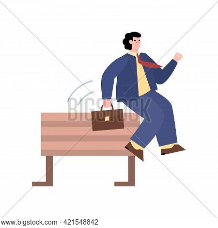 Businessman Competing In Steeplechase, Cartoon Vector Illustration Isolated.