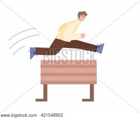 Man Jumps Over Barrier With Great Effort, Cartoon Vector Illustration Isolated.