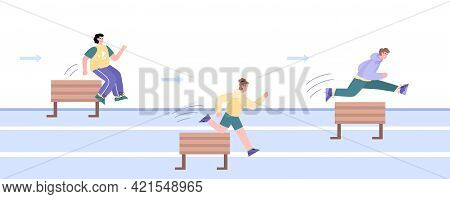 People Jump Over Obstacles Or Barriers, Cartoon Vector Illustration Isolated.