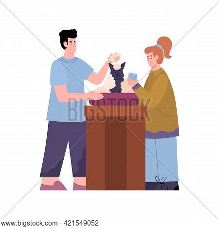 Grooms Bathing A Dog And Washing Its Fur, Cartoon Vector Illustration Isolated