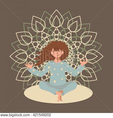 Girl Meditates While Sitting Outdoors On The Background Of The Mandala. Cartoon Flat Style. Sport Ac