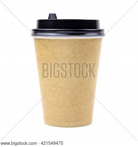 Beige Paper Coffee Cup Isolated On A White Background.. Beige Tea Cup Isolated.blank Mockup.