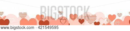Lots Of Cute Pink Hearts. Bottom Horizontal Seamless. Isolated Object On A White Background. Funny L