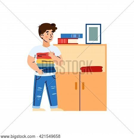 Boy Putting Clean Clothes In Dresser, Cartoon Vector Illustration Isolated.
