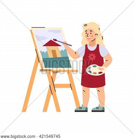 Little Girl Painting On Canvas At Easel, Flat Vector Illustration Isolated.