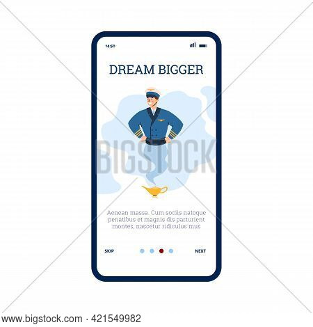 Onboarding Mobile Page With Pilots Looking As Genie, Flat Vector Illustration.