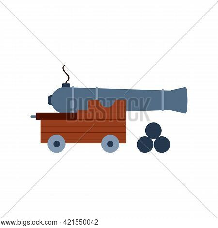 Old Artillery Cannon With Cannonballs, Flat Vector Illustration Isolated.