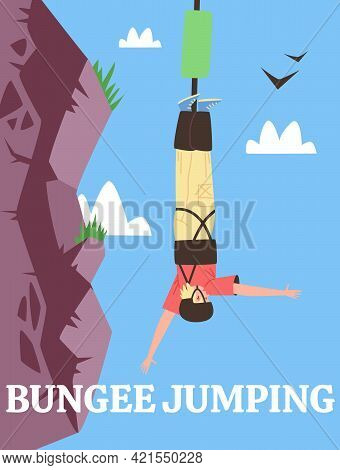 Poster For Advertise Extreme Sport Or Fun Adrenaline Entertainment Bungee Jumping
