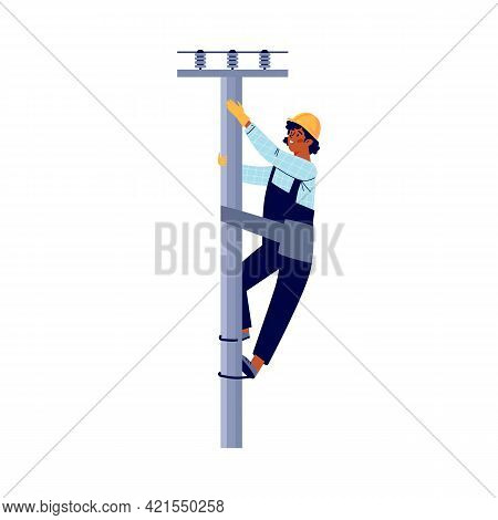 Electrician Climbing A Pole To Fix Breakdown, Flat Vector Illustration Isolated.