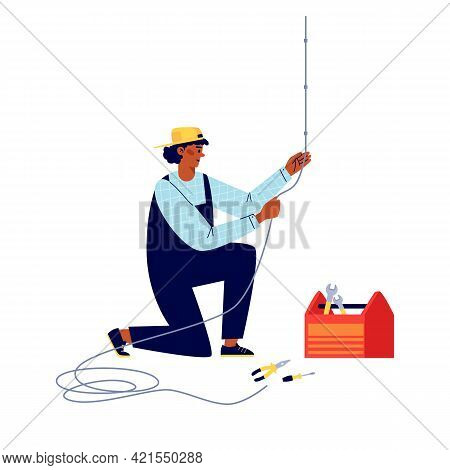 Power Lineman Or Electric Connecting Wiring, Flat Vector Illustration Isolated.