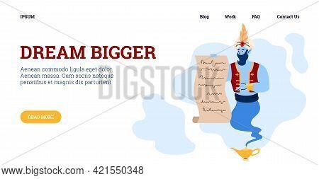 Dream Bigger Website With Genie Holding Wish List, Flat Vector Illustration.