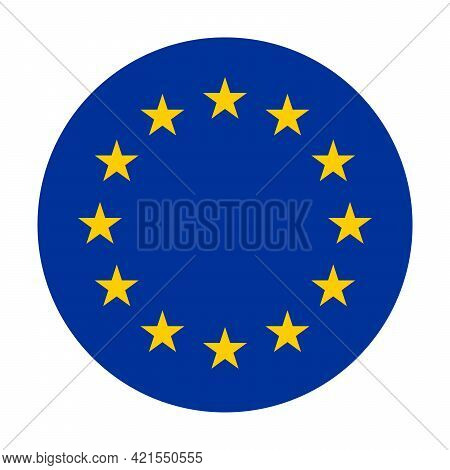 Circle Flag Of European Union, Eu. Twelve Gold Stars On Blue Background. Official Colors.
