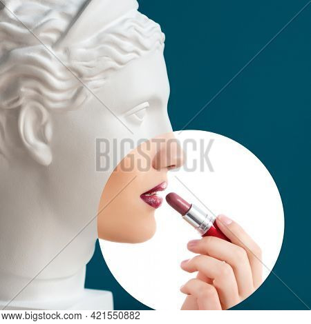 Contemporary collage of plaster statue head and young woman with lipstick in profile over deep blue background. Antiquity and modernity, beauty canons