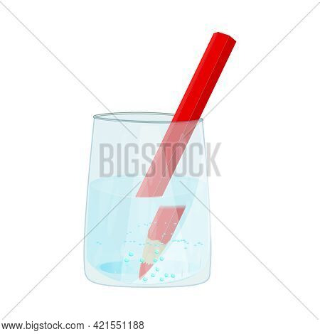 Refraction Through A Glass. Refraction Of Light. Water Causes Light To Deflect. Glass With Water And