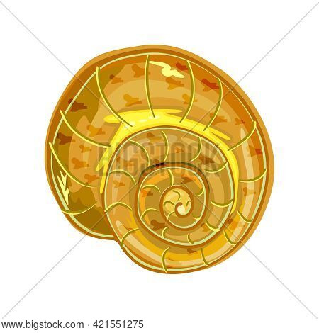 Shell Isolated On White Background. Conch Icon. Snail House. Empty Sea Clam Shell. Underwater Life O