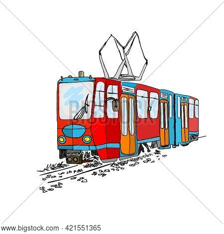 Tram Isolated On White Background. Cartoon City Public Transport. Vintage Tram Style. Urban Trolley.