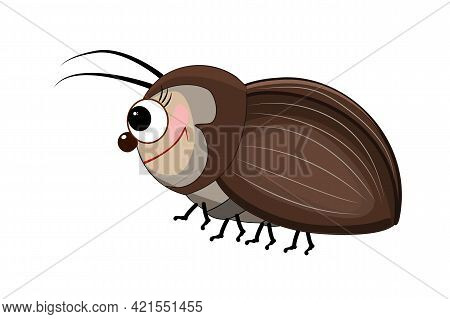 Cartoon Bug Isolated On White Background. Cartoon Funny Brown Beetle. Cute Bug Icon. Insect Characte