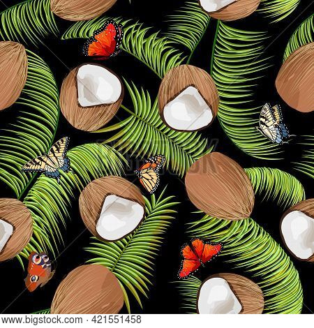 Vector Pattern With Coconuts And Butterflies.coconuts, Butterflies And Palm Leaves In A Seamless Pat