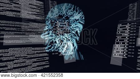 Composition of digital data processing over human brain formed with processor circuit board. global science, business, technology, connections and networking concept digitally generated image.