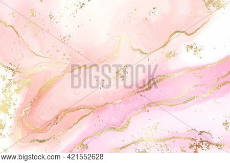 Gradient Rose Liquid Marble Or Watercolor Background With Glitter Foil Textured Stripes. Pink Marble