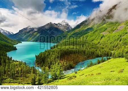 Beautiful Turquoise Lake In Altai Mountains Blue Sky