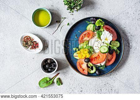 Appetizing Salad With Feta Cheese, Fresh Vegetables (tomatoes, Cucumbers, Onions), Crispy Lettuce, M