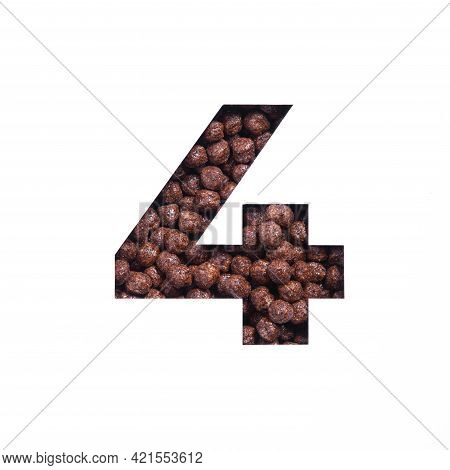 Number Four Of Nutritional Chocolate Cereal Balls, White Paper Cut In Shape Of Fourth Numeral. Typef