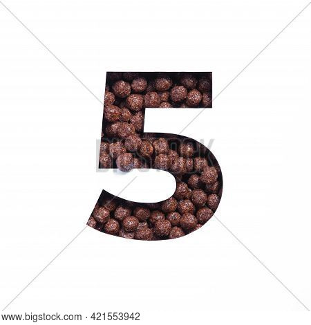 Number Five Of Chocolate Cereal Balls, White Cut Paper. Fifth Numeral. Typeface For Healthy Breakfas