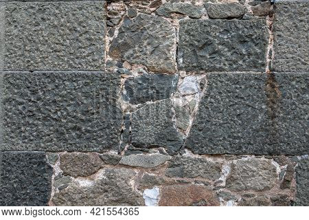 Backgrounds Of The Old Fortress Wall. Ancient Historic Genoese Castle Or Fortress
