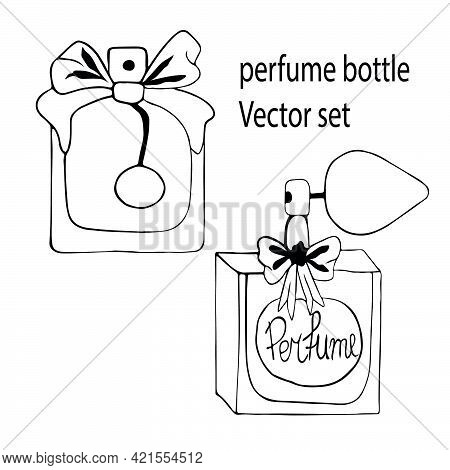 Set Of Different Perfume Bottles In The Style Of Doodles, Drawn By Hand In Ink On A White Background