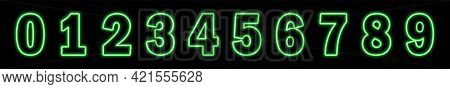 Set Of Neon Green Numbers On Black Background. Learning Numbers, Serial Number, Price, Place. Vector
