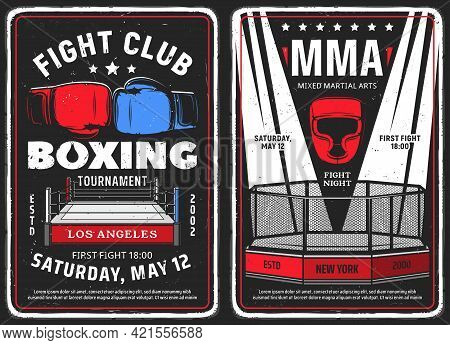 Boxing And Mixed Martial Arts Club Grunge Posters. Boxing Ring And Gloves, Mma Octagon Cage And Ligh