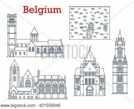 Belgium Travel Landmarks, Architecture And Buildings, Vector Cathedrals And Churches. Belgium Landma