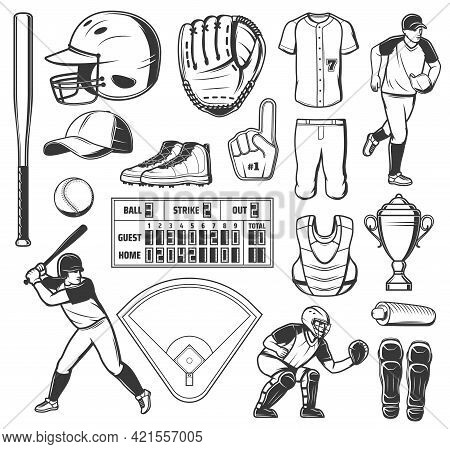 Baseball Sport Game Vector Icons Ball, Bat Or Winner Trophy Cup. Stadium Play Field, Pitcher Player