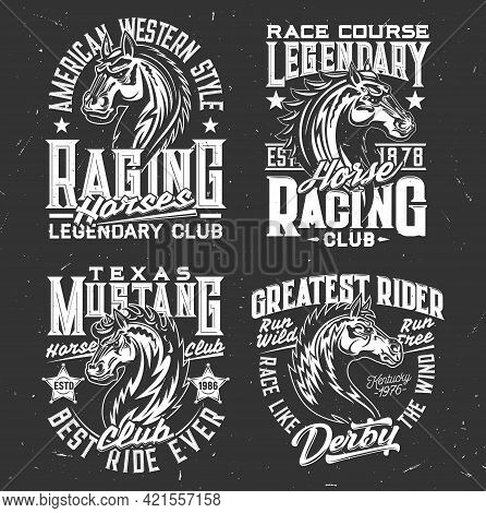 Tshirt Prints With Horse Stallion Heads, Equestrian Sport, Racing Club Vector Mascot. Mare Animal, H