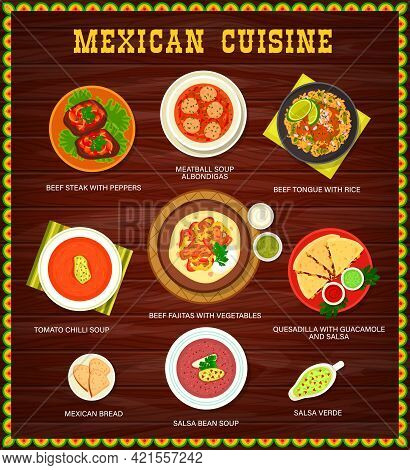 Mexican Cuisine Restaurant Menu With Meat, Vegetables Meals. Albondigas Meatball, Chili And Salsa Be