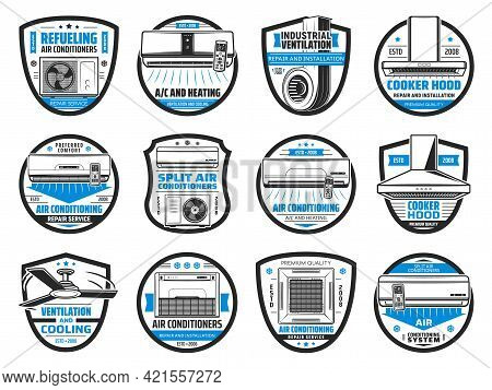 Air Conditioner, Cooker Hood And Ventilation System Isolated Vector Icons. Kitchen Exhaust Or Range
