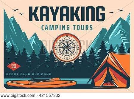 Kayaking And Camping Tours Retro Banner. Recreation Activity Trip, Rafting On River In Wild. Hiking