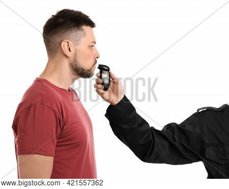 Police Inspector Conducting Alcohol Breathe Testing, Man Blowing Into Breathalyzer On White Backgrou