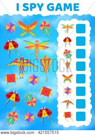 I Spy Kids Game With Vector Kites In Blue Sky. Counting Puzzle, Logic Riddle Or Maze, Education Work