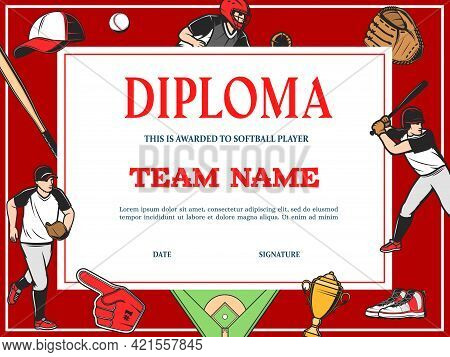 Baseball Diploma, Sport Team Award Certificate And Victory Cup Appreciation, Vector Template. Baseba