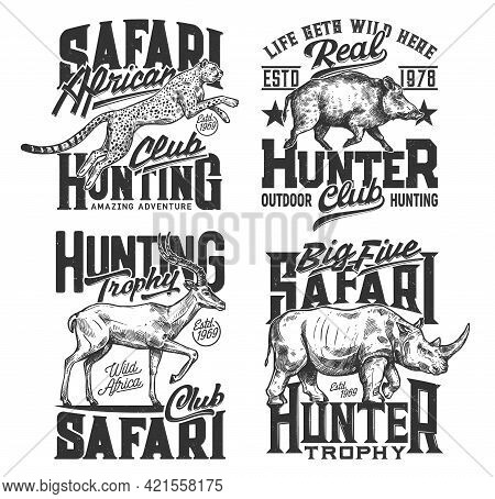 Safari Hunting T Shirt Prints, Hunt Club Animals And Hunter Trophy Vector Icons. African Safari Hunt