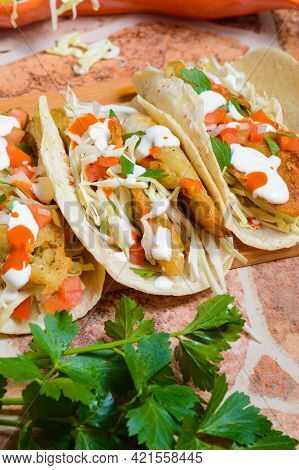 Baja California Style Fish Tacos With Toppings