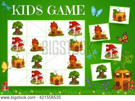 Sudoku Game Fairy Houses Of Elves And Gnomes. Vector Carrot, Boot, Tree And Mushroom On Chequered Bo