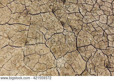 Cracked dry earth with cracks texture close up