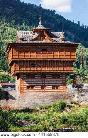 Bhimakali Temple dedicated to the mother goddess Bhimakali, Sarahan, Kinnaur, Himachal Pradesh, India. Traditional architecture of Himachal Pradesh - layers of woods are alternated with broken stones