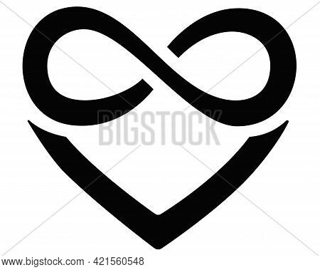 Heart And Infinity - Polyamory Sign - Vector Silhouette Illustration For Logo, Icon Or Pictogram. A